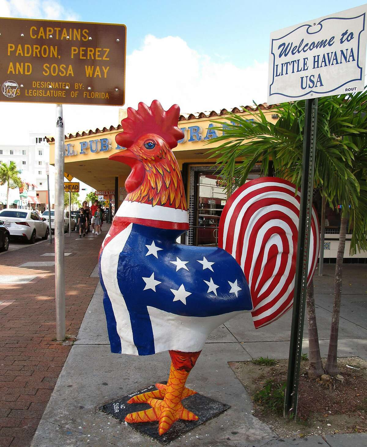 A stature of a rooster, said to be the spirit animal of Little Havana, stands outside a restaurant in the neighborhood.