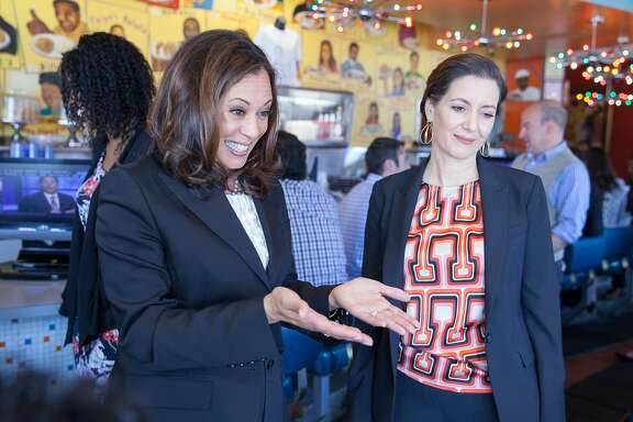 California Attorney General Kamala Harris, who finished first in the U.S Senate primary, meet up with Oakland Mayor Libby Schaaf (right) as she kicks off the general election greeting voters at the Home of Chicken and Waffles in Oakland, California, USA 8 Jun 2016. (Peter DaSilva/Special to The Chronicle)