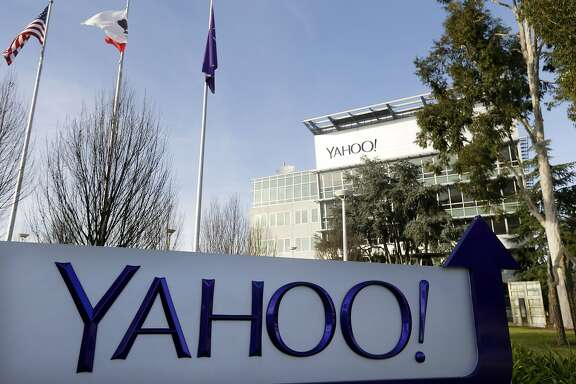 FILE - This Jan. 14, 2015, file photo shows a sign outside Yahoo's headquarters in Sunnyvale, Calif. Yahoo is hoping to sell most of its technology patents as part of a purge that also could culminate in the sale of its Internet operations. (AP Photo/Marcio Jose Sanchez, File)