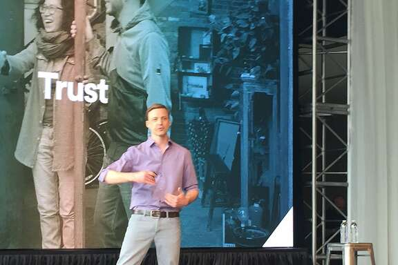 Airbnb executive Mike Curtis speaks at the company's annual OpenAir technical conference in San Francisco on Wednesday, June 8, 2016.