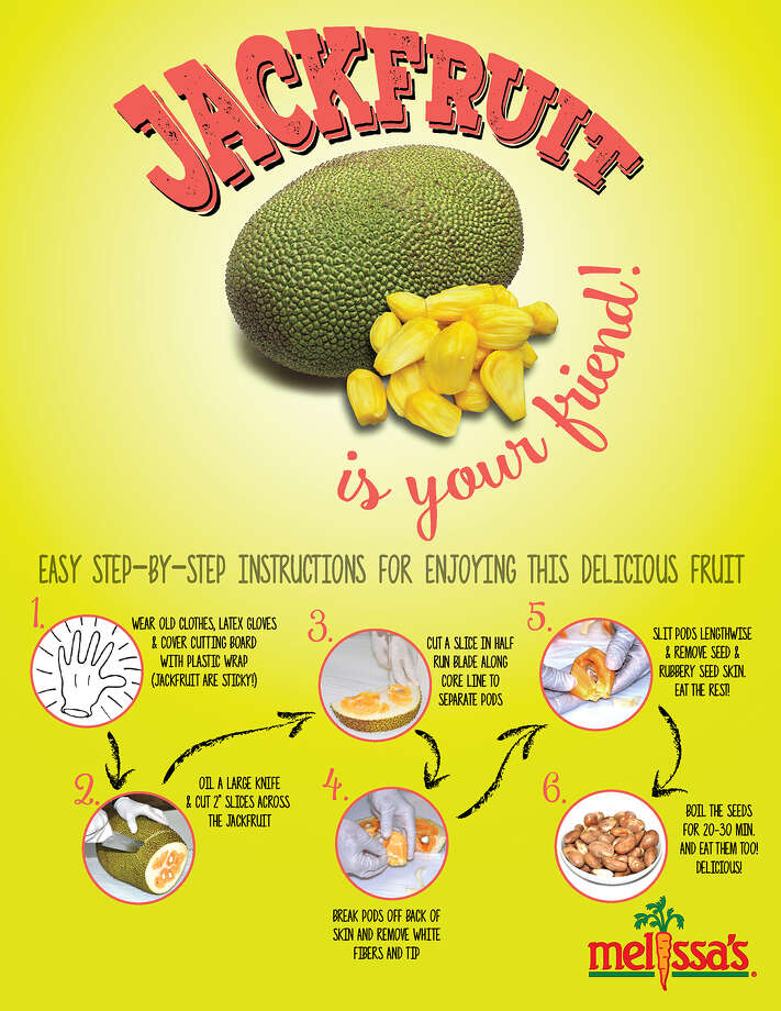 A primer from Melissa's Produce on how to enjoy jackfruit; the fruit's sheer mass and forbidding exterior tend to ward off potential takers Photo: Melissa's Produce / The Washington Post