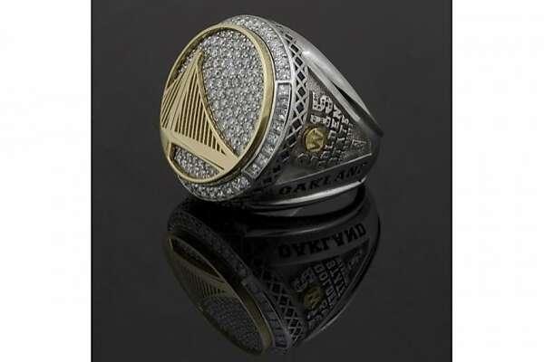 "The NBA championship ring on display at ""Warriors Pride, Oakland Pride"""