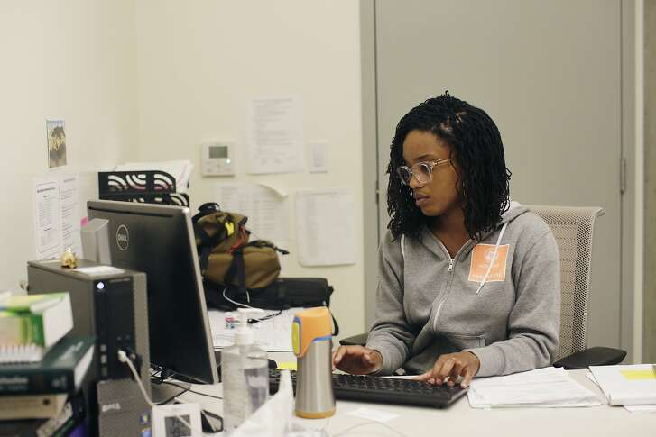Ashley Moore-Motte,primary care nurse, UCSF Citywide Rene Cazenave Team, types on the computer  while working at the nursing office on Wednesday, June  1, 2016 in San Francisco, California.