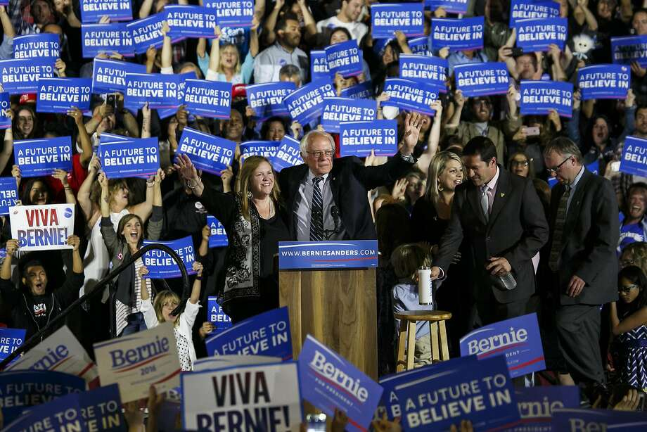 Sen. Bernie Sanders arrives at his campaign rally in Santa Monica the day of the primary election and is greeted by his typical huge crowd of supporters. Photo: Marcus Yam, TNS