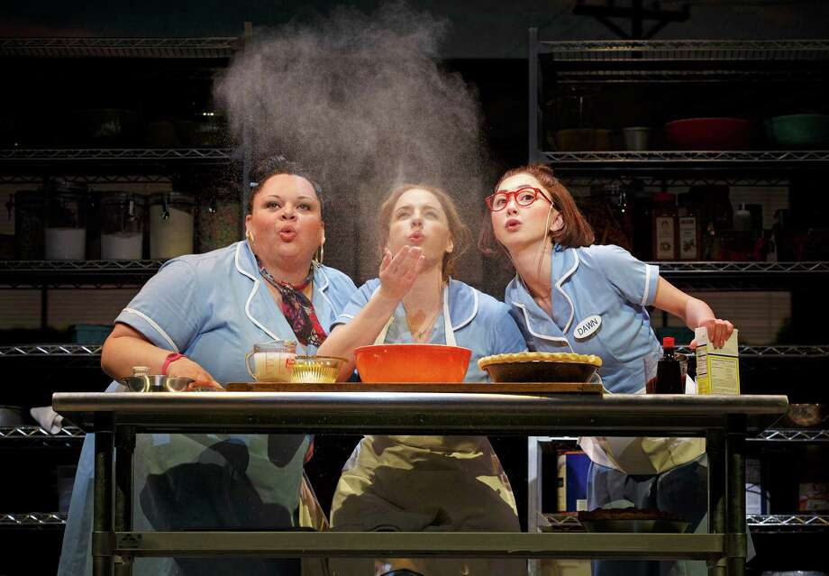 """Keala Settle, from Hawaii, Jessie Mueller and Kimiko Glenn perform in """"Waitress,"""" at the Brooks Atkinson Theatre in New York. The play hired non-whites for two-thirds of the lead actresses. Photo: Joan Marcus, HONS / Boneau/Bryan-Brown"""