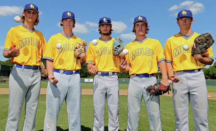 Jack Woodland (from left), Morgan Dawley, Nathaniel Prete, James Tyng and Matthew Butler are the Alamo Heights pitchers nobody talks about, but they've combined for a 15-3 record, an 0.86 ERA and 147 strikeouts in 130-plus innings this season.