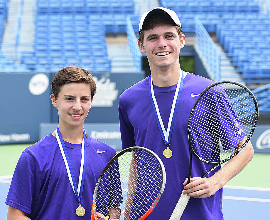 The Westhill High boys doubles team, featuring Jordan Soifer, left, and Richie Greenbaum won the State Open championship on Wednesday at the Connecticut Tennis Center's Stadium Court at Yale University with a 6-3, 6-0 win over Fairfield Warde's Henry Johnson and Jack Johnson. Photo: John Nash / Connecticut Post