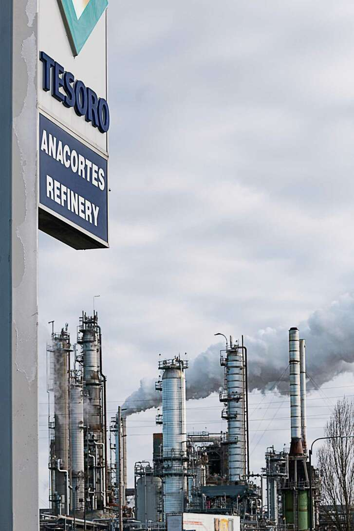 File photo of the Tesoro Anacortes refinery in Anacortes. The shares of San Antonio-based Andeavor, formerly Tesoro Corp., tumbled Thursday even after the company reported that profits tripled during the the third quarter.