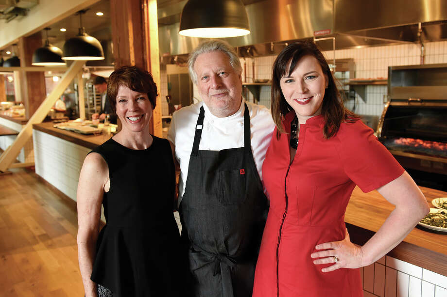 Chronicle Assistant Managing Editor Kitty Morgan, executive chef Jonathan Waxman, and Chronicle Editor in Chief Audrey Cooper at the Chronicle's Top 100 Restaurants celebration at Waxman's Restaurant at Ghirardelli Square in San Francisco, on Monday, May 23, 2016. Photo: Michael Short