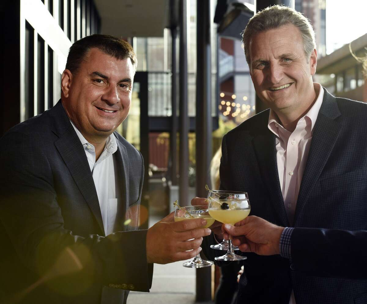 Chronicle Director of Automotive & Real Estate Jason Radovan (left) with Chronicle Publisher & CEO Jeff Johnson at the Chronicle's Top 100 Restaurants celebration at Waxman's Restaurant at Ghirardelli Square in San Francisco, CA Monday, May 23th, 2016.