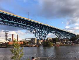 One of many bridges in downtown Cleveland that span the Cuyahoga River