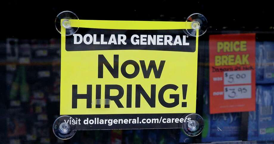 "In this Wednesday, May 18, 2016, photo, a ""Now Hiring"" sign hangs in the window of a Dollar General store in Methuen, Mass. On Wednesday, June 8, 2016, the Labor Department reports on job openings and labor turnover for April. (AP Photo/Charles Krupa) ORG XMIT: NYBZ317 Photo: Charles Krupa / Copyright 2016 The Associated Press. All rights reserved. This m"