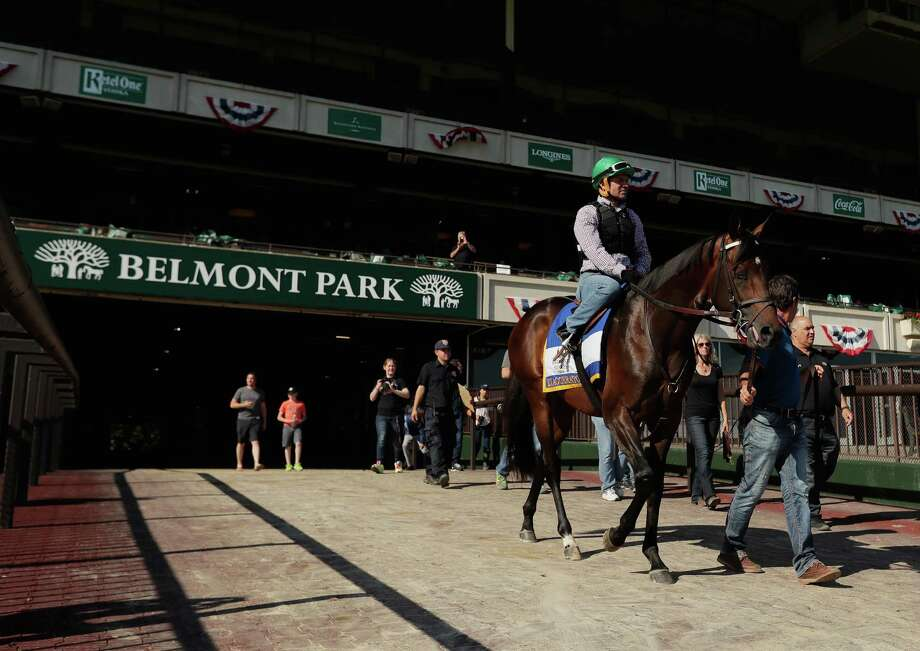 ELMONT, NY - JUNE 07:  Jockey Kent Desormeaux rides Exaggerator onto the track before a training session prior to the 148th running of the Belmont Stakes at Belmont Park on June 6, 2016 in Elmont, New York.  (Photo by Al Bello/Getty Images) ORG XMIT: 637228467 Photo: Al Bello / 2016 Getty Images