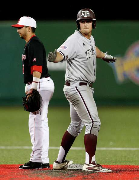 Texas A&M first baseman Hunter Melton (50) reacts on second base after hitting a double in the seventh inning during the NCAA baseball game at Schroeder Park at the University of Houston, Tuesday, March 29, 2016. ( Karen Warren / Houston Chronicle ) Photo: Karen Warren, Staff / © 2016  Houston Chronicle