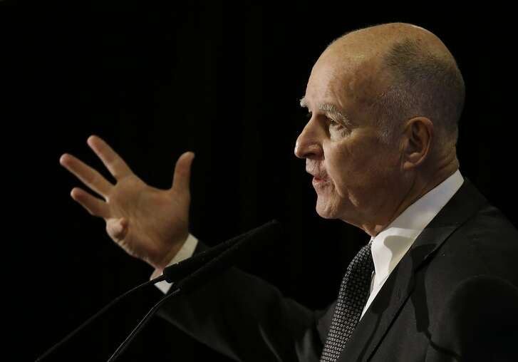 California Gov. Jerry Brown gestures while delivering the keynote address at the Subnational Clean Energy Ministerial Wednesday, June 1, 2016, in San Francisco. (AP Photo/Eric Risberg)