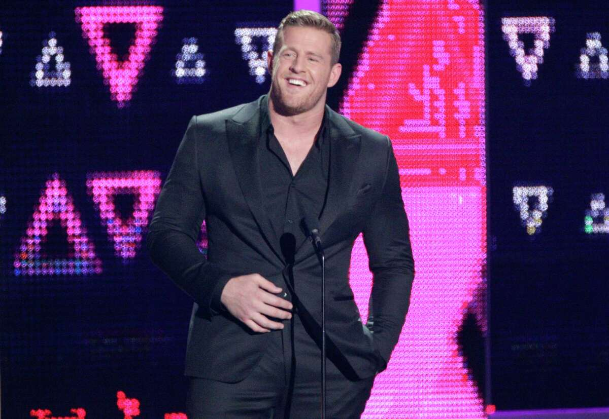 J.J. Watts speaks at the CMT Music Awards at the Bridgestone Arena on Wednesday, June 8, 2016, in Nashville, Tenn. (Photo by Wade Payne/Invision/AP)