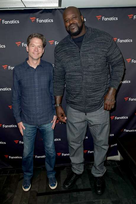 CEO of Fanatics Doug Mack and former NBA player Shaquille O'Neal attend the Fanatics Super Bowl Party on February 6, 2016 in San Francisco. Photo: Joe Scarnici, Getty Images For Fanatics