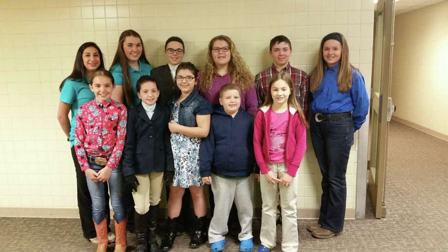 Cornell Cooperative Extension of Rensselaer County  said 10 of its 4-H members participated in the Regional Horse Communications contest, with eight competing at the New York State Horse Communications Contest. From left in front, are Lily Czub, Grace Huffam, Olivia Harrington, Nathan Goodermote and Abigail Trinkle. In back are Emma Gill, Merrill Wrenn, Maeve Corcoran, Erin Goodermote, Brigham Logue and Paige Spiess. (Submitted photo)