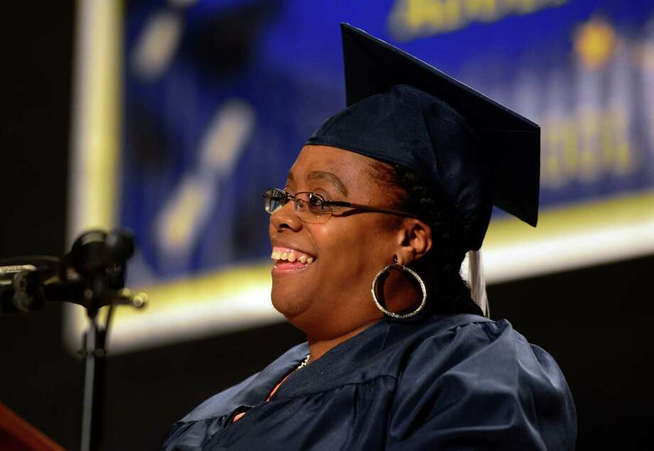 Graduate Amirh Powell speaks at the Bridgeport Adult Education Graduation at the Klein Memorial Auditorium in Bridgeport, Conn., on Wednesday June 08, 2016. Photo: Christian Abraham / Hearst Connecticut Media / Connecticut Post