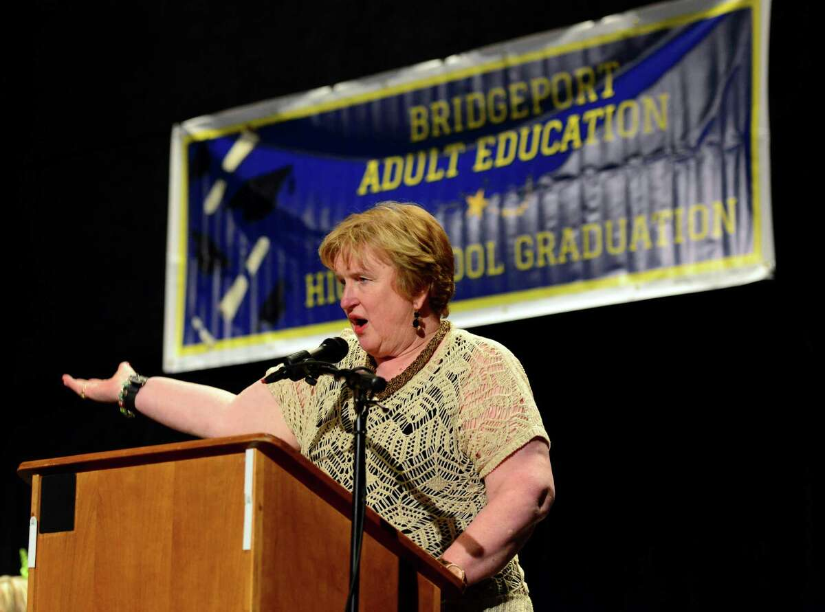 Superintendent of Schools Frances Rabinowitz speaks at the Bridgeport Adult Education Graduation at the Klein Memorial Auditorium in Bridgeport, Conn., on Wednesday June 08, 2016.