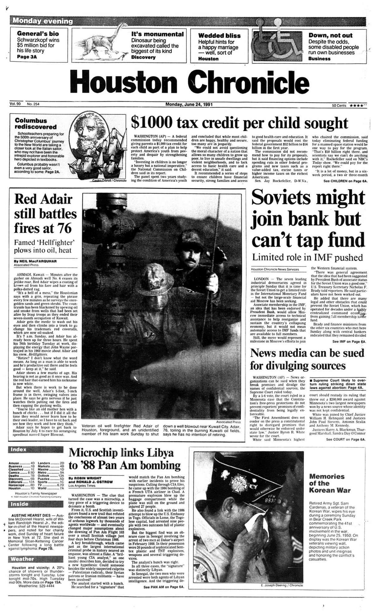 Houston Chronicle front page (HISTORIC) - June 24, 1991 - section 1, page 1. Red Adair still battles fires at 76