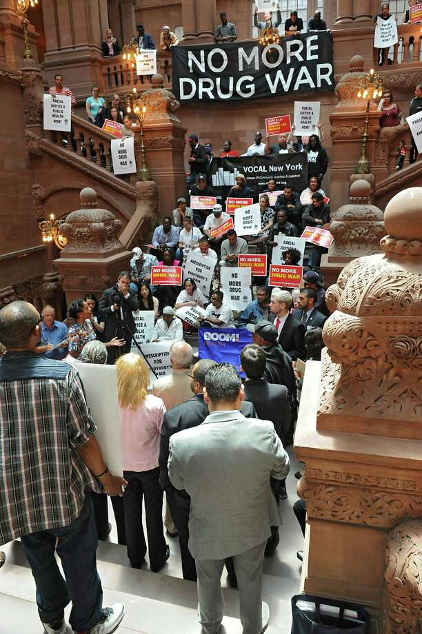 Elected officials, community members, civil rights and legal advocates, and drug policy reformers join together to call for the inclusion of communities of color in Albany's response to heroin and opioids at the Capitol on Wednesday, June 8, 2016 in Albany, N.Y. (Lori Van Buren / Times Union) Photo: Lori Van Buren / 40036885A