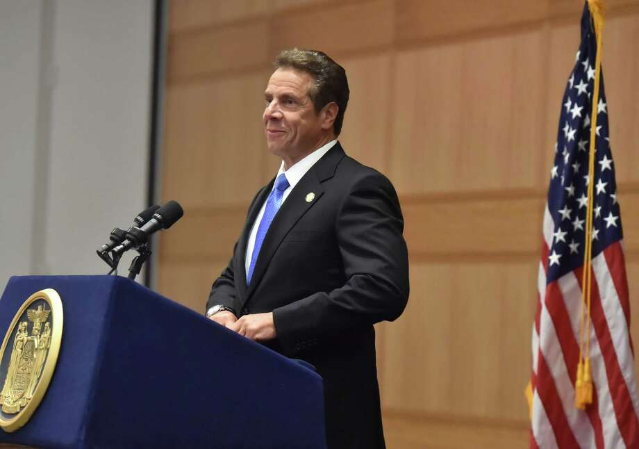 Gov.Andrew M. Cuomo speaks at Fordham Law School on June 8, 2016, in New York. In a half-hour address Wednesday, Cuomo unveiled a legal opinion crafted by his counsel?s office offering guidance to state enforcement entities that can be used to weigh whether improper coordination exists between often shadowy IE groups and the candidates they support. (Office of the Governor) Photo: Office Of The Governor / ©2016 Kevin P. Coughlin/New York State