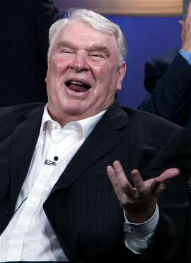 "In this July 22, 2006 file photo, broadcaster John Madden appears for the upcoming NBC sports show ""Football Night In America"" at the Summer Television Critics Association Press Tour in Pasadena, Calif. Madden, the burly former coach who has been one of pro football's most popular broadcast analysts for three decades, is calling it quits. Madden worked for the past three seasons on NBC's Sunday night NFL game. His last telecast was the Super Bowl between Arizona and Pittsburgh. (AP Photo/Reed Saxon, File)"
