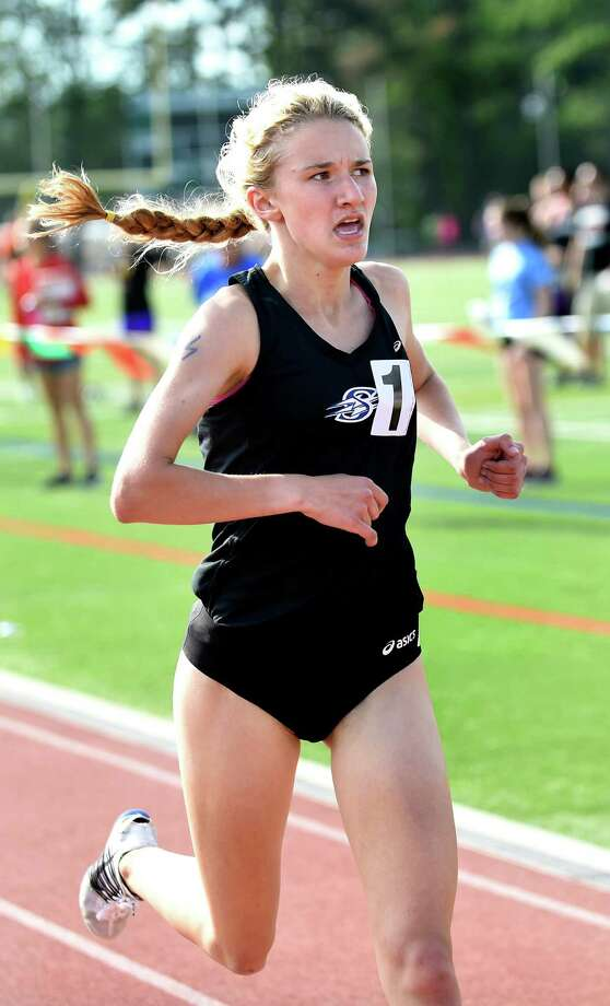 Saratoga's Kelsey Chmiel takes first in the 1500-meter run during the state qualifier meet on Friday, June 3, 2016, at Shenendehowa High in Clifton Park, N.Y. (Cindy Schultz / Times Union) Photo: Cindy Schultz / Albany Times Union