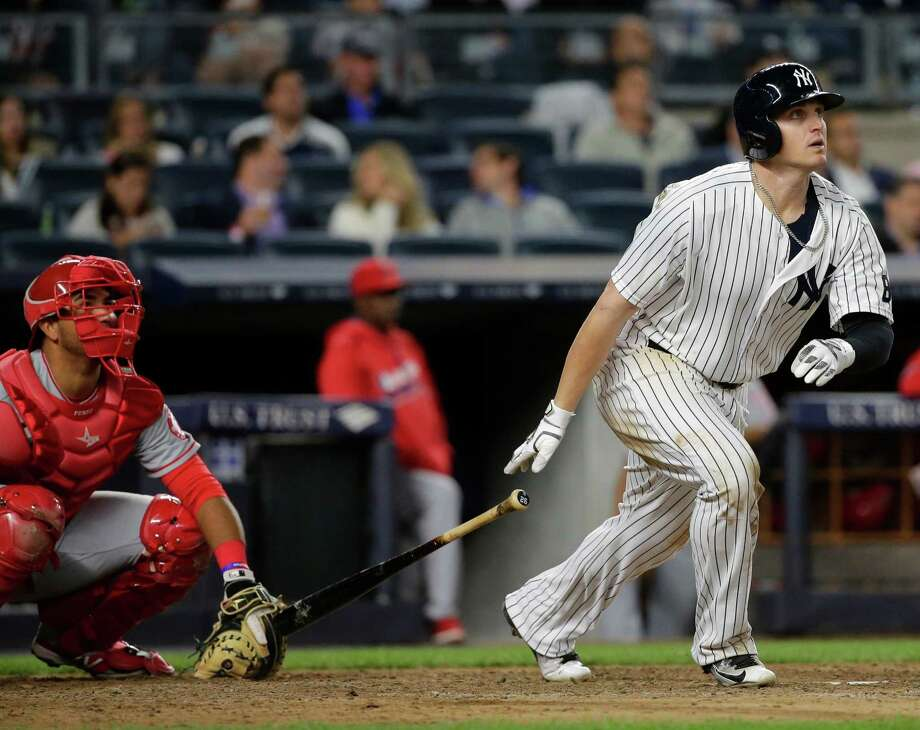 New York Yankees' Chris Parmelee watches his home run during the sixth inning of a baseball game against the Los Angeles Angels on Wednesday, June 8, 2016, in New York. (AP Photo/Frank Franklin II) ORG XMIT: NYY112 Photo: Frank Franklin II / Copyright 2016 The Associated Press. All rights reserved. This m