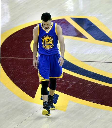 Warriors' Stephen Curry back on the court after a time out late in the fourth quarter as the Golden State Warriors went on to lose to the Cleveland Cavaliers 120-90 in game 3 of the NBA Championship at Quicken Loans Arena in Cleveland, Ohio on Wed. June 8, 2016. Photo: Michael Macor, The Chronicle
