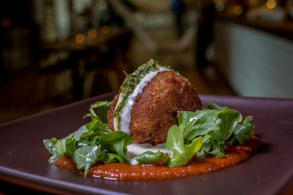 The Pork Meatball with Goat Cheese and Pesto at Waxman's in San Francisco, California is seen on June 8th, 2016.