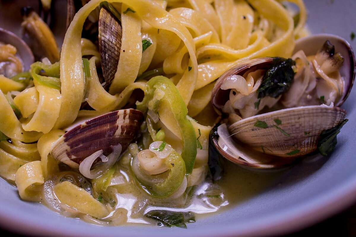 Tagliatelle with Clams at Waxman's in San Francisco, California is seen on June 8th, 2016.