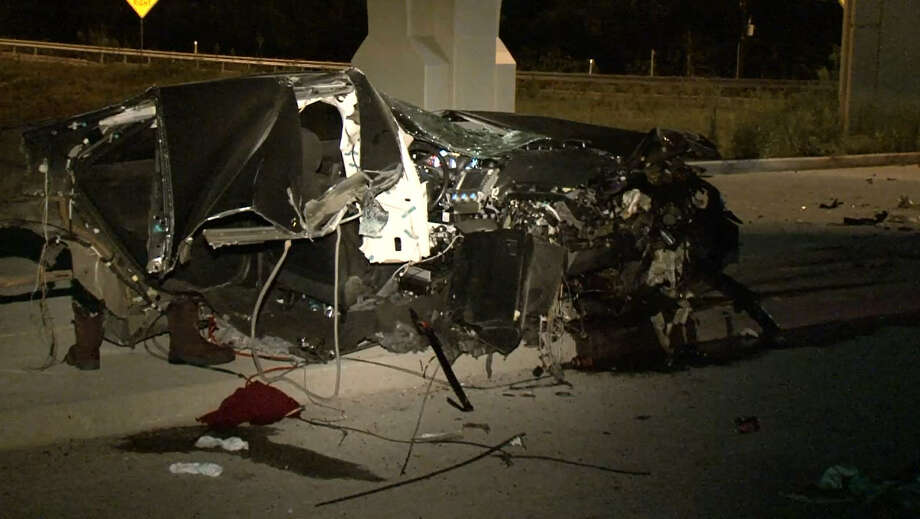 A suspected drunk driver is in custody after a horrific crash left his passenger dead late Wednesday night  along Interstate 45 in north Harris County on Wednesday, June 8, 2016. Photo: Metro Video