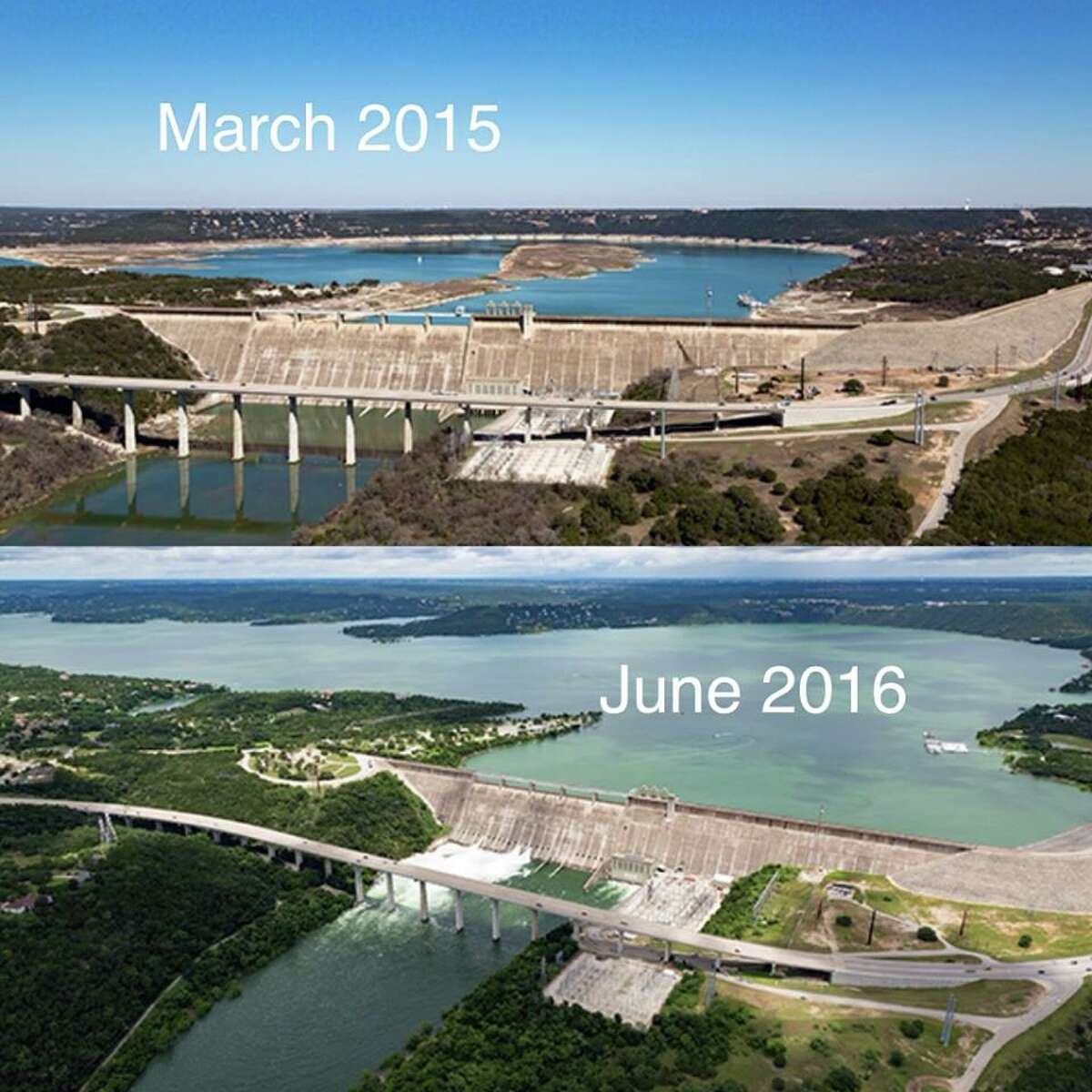 LCRA shared photos of a transformed Lake Travis, which was 35 percent full at this time last year, on June 9, 2016.