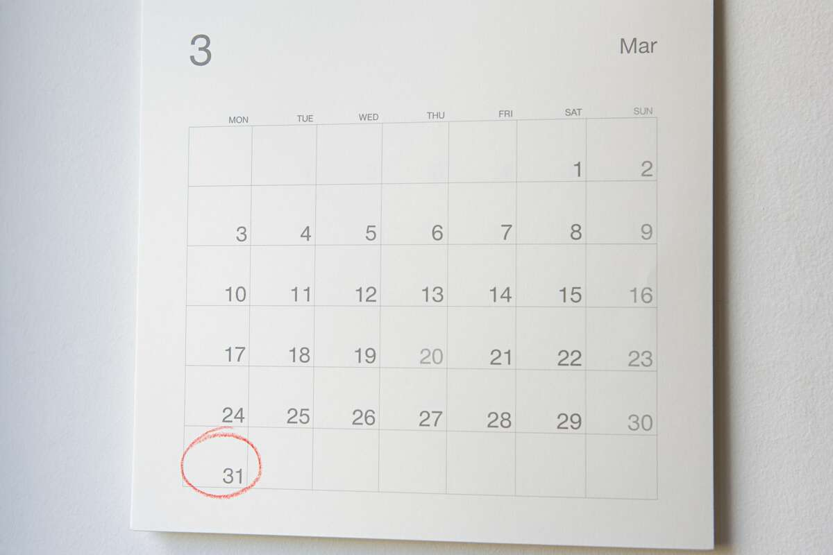 Calendar showing the month of March.