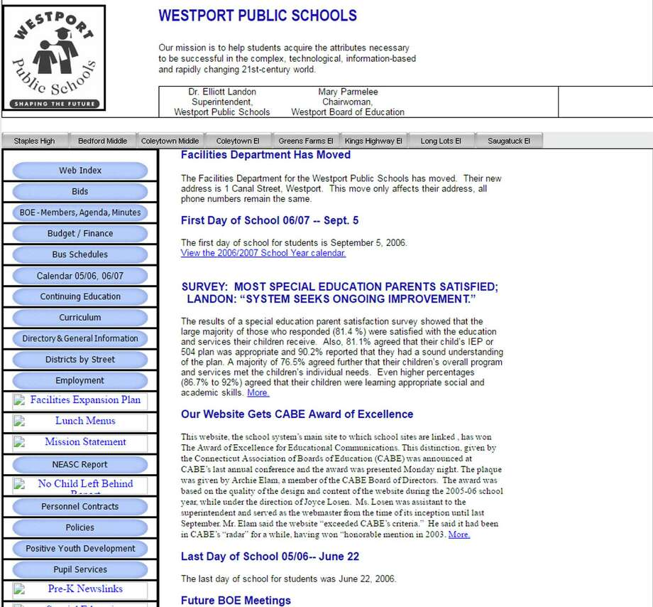 The Westport Public Schools website won a top award in 2006. This is what the site looked like then. Photo: Contributed / Contributed Photo / Westport News