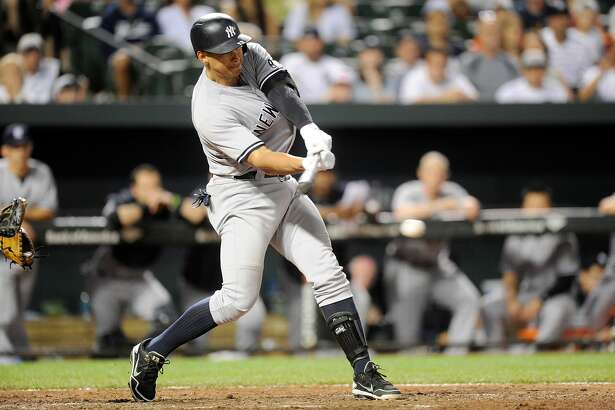 BALTIMORE, MD - JUNE 04: Alex Rodriguez #13 of the New York Yankees drives in a run with a single in the ninth inning against the Baltimore Orioles at Oriole Park at Camden Yards on June 4, 2016 in Baltimore, Maryland. New York won the game 8-6. (Photo by Greg Fiume/Getty Images)