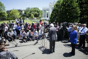 Sen. Bernie Sanders of Vermont, a Democratic presidential hopeful, speaks to reporters after a meeting with President Barack Obama at the White House, in Washington, June 9, 2016. The president is trying to negotiate with Sanders about exiting the race for the Democratic nomination without damaging efforts to unite the party. (Zach Gibson/The New York Times)