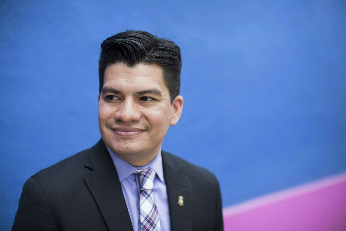Edward Benavides, the new CEO of the tricentennial celebration for the city, stands for a portrait at the Centro de Artes building in Market Square in San Antonio, Texas on December 15, 2015.