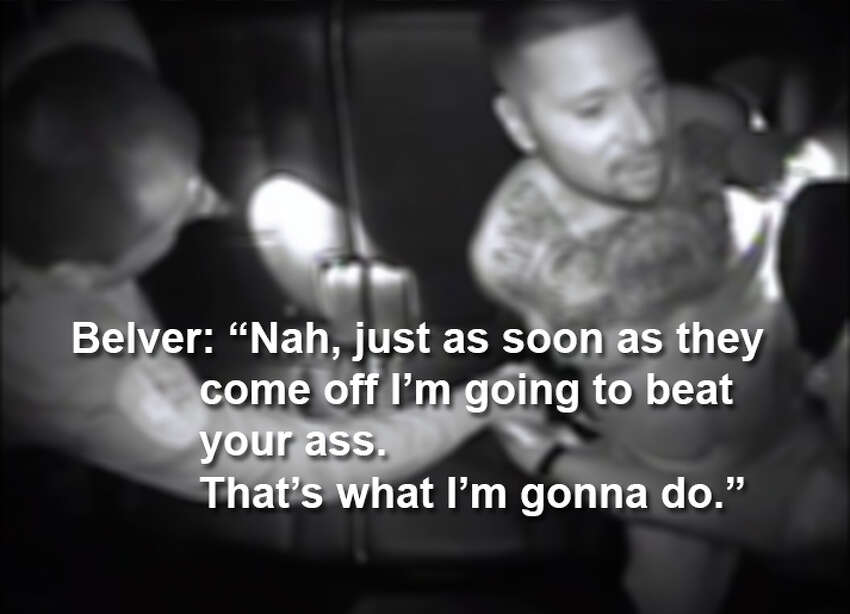 Dialogue recorded on a patrol car camera between SAPD officer Matthew Belver and suspect Eloy Leal on August 1, 2015.