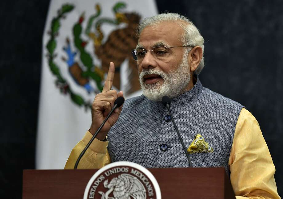 Indian Prime Minister Narendra Modi spoke of yoga and baseball. Photo: YURI CORTEZ, AFP/Getty Images