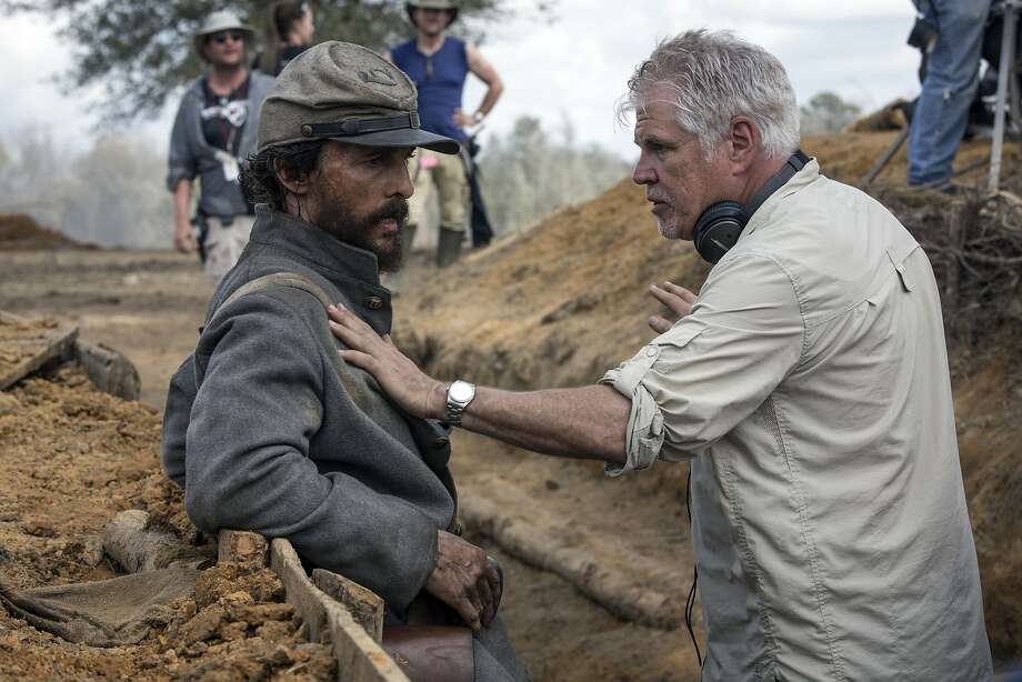 """Matthew McConaughey and writer/director Gary Ross on the set of """"Free State of Jones,"""" opening at Bay Area theaters on Friday, June 24. Photo courtesy of STX Productions. Photo: STX Productions"""
