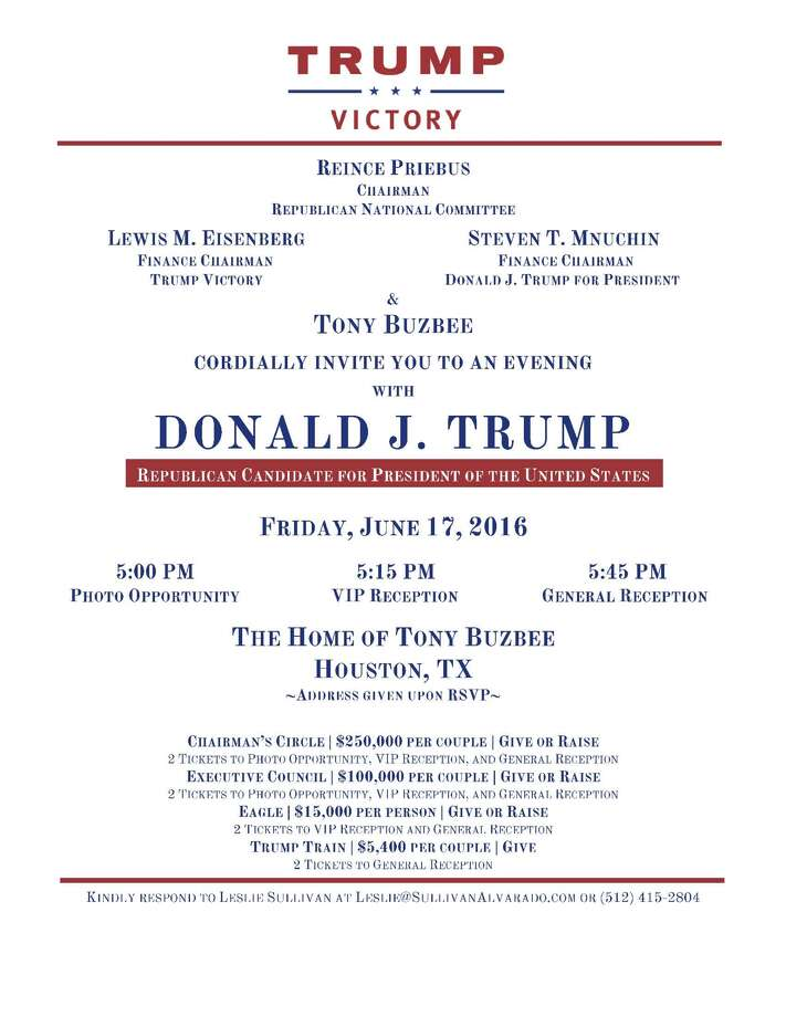 A fundraiser for GOP presidential candidate Donald Trump is being held at the home of attorney Tony Buzbee in Houston, Friday, June 17, 2016.