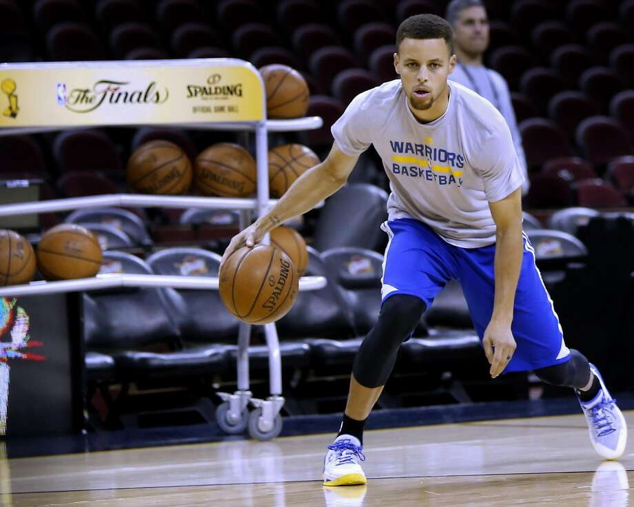 Warriors' Stephen Curry during a practice session as the Golden State Warriors prepare for game 4 against Cleveland Cavalier of the NBA Championship at Quicken Loans Arena in Cleveland, Ohio on Thurs. June 9, 2016. Photo: Michael Macor, The Chronicle