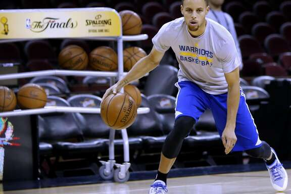 Warriors' Stephen Curry during a practice session as the Golden State Warriors prepare for game 4 against Cleveland Cavalier of the NBA Championship at Quicken Loans Arena in Cleveland, Ohio on Thurs. June 9, 2016.
