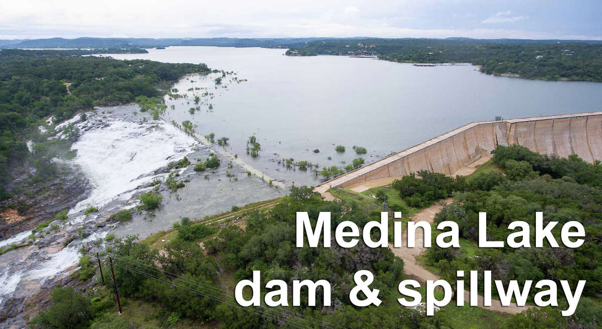 While the Medina Lake dam are may look peaceful from above it is anything but.