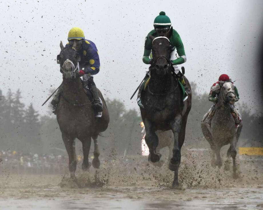 Exaggerator with jockey Kent Desormeaux wins the 141st running of The Preakness Stakes May 21, 2016, at Pimlico Race Course in Baltimore, MD.   (Skip Dickstein/Times Union) Photo: SKIP DICKSTEIN