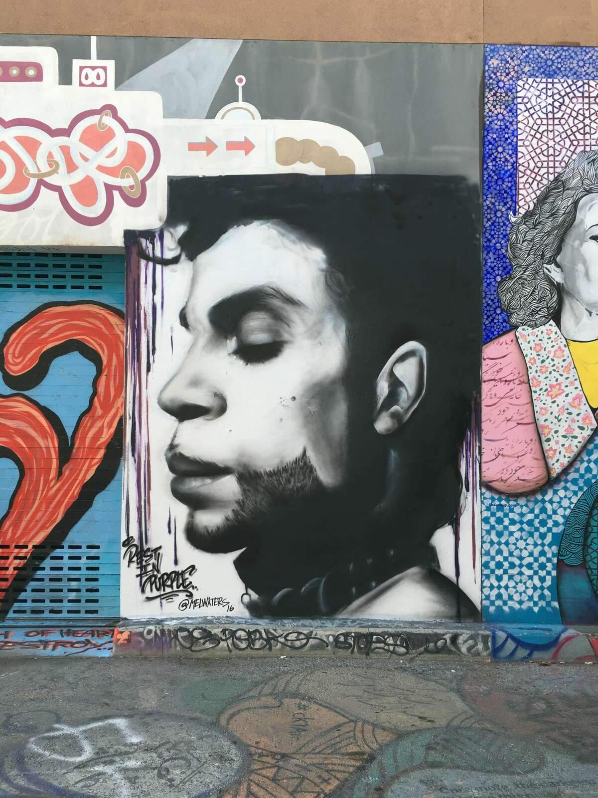 A mural of Prince by Mel Waters graces Clarion Alley in San Francisco's Mission District as part of the Clarion Alley Mural Project