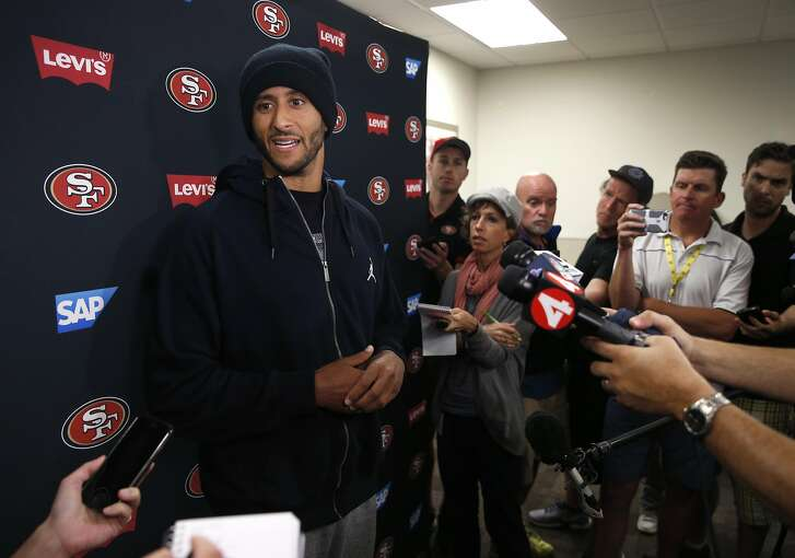 Quarterback Colin Kaepernick meets with sports reporters after participating in a three-day mini camp at the 49ers practice facility in Santa Clara, Calif. on Thursday, June 9, 2016.